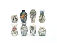 agapanthus vase (+ snowdrops vase; 2 pieces) by lise b moorcroft