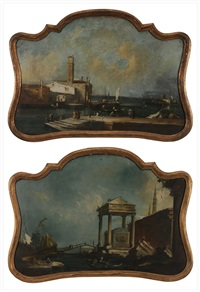 figures in harbors (pair) by francesco guardi