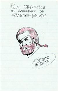 rarissime dédicace couleur représentant barbe rouge sur page de livre d'or by hubinon