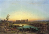a herdsman watering his cattle at paestum, dusk by johann-rudolph buhlmann
