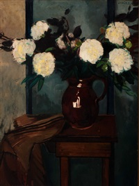 peonies in earthenware jug by louis saalborn