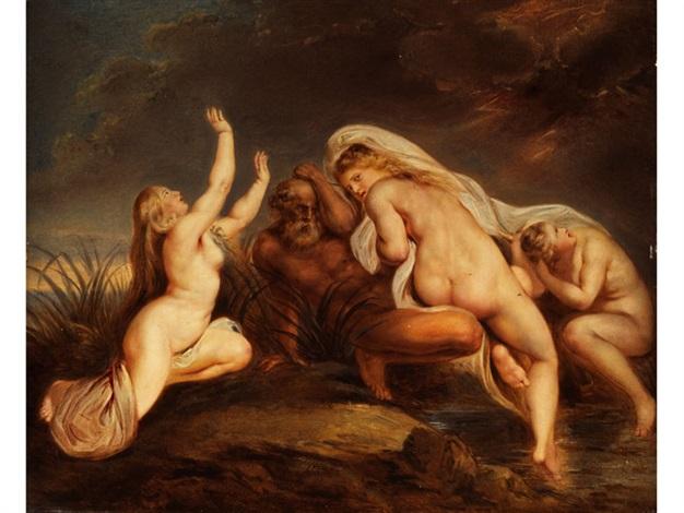 die nereïden mit ihrem vater nereus im sturm auf die hilfe des göttervaters zeus wartend by carl josef alois agricola