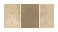 three nude figure studies (2 works) by pierre bonnard