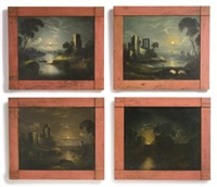 four moonlight scenes (4 works) by william matthew prior