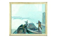 harbour scene in the fog (maine) by george g. adomeit