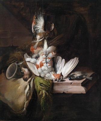 jagdstillleben mit erlegten vögeln und jagdgerät by william gowe ferguson