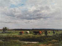 vaches au pâturage by louis marie lemaire