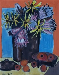 still life with proteas and fruit by karel nel