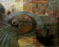 a venetian canal scene by alfred john billinghurst