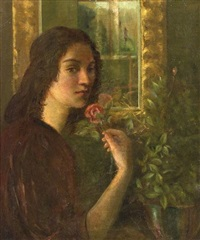 girl with a rose by charles avery aiken
