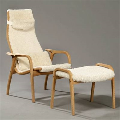 Lamino Easy Chair With Foot Stool By Yngve Ekström