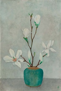 magnolias in a blue jar by jan boon