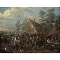 a village scene with a noble family visiting a peasant feast by josef van aken