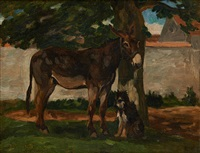âne et chien sous l'arbre by constant troyon