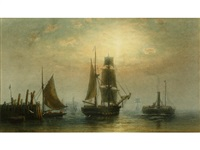 shipping on a calm at dusk (pair) by frederick miller