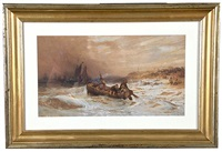 stormy seas with boat on coastline by charles bentley