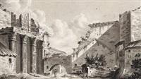 blick auf das augustusforum in rom mit der ruine des mars ultor-tempels by august heinrich andreae