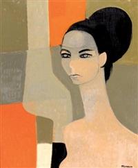 portrait de femme aux yeux bleu by andré minaux
