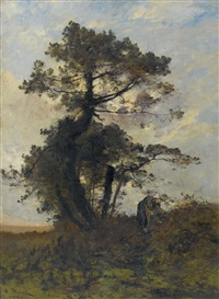 bäuerin mit kind unter knorrigem baum by leon germain pelouse