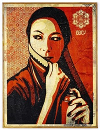 commanda hpm on wood by shepard fairey