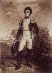 portrait of an officer, standing in a landscape by adrien victor auger