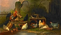 farm exterior with a cat, a cock and chickens at a well by l. van peteghem
