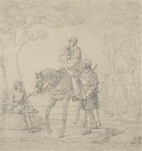rudolf graf von habsburg überläßt einem priester beim versehgang sein pferd - harfenspieler, hinter mauern könig mit gefolge (2 works) by alfred rethel