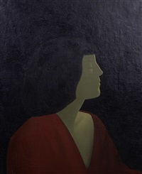 portrait of a woman in profile, head and shoulders wearing a red dress by jacob kramer