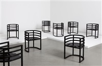 armchairs, model 810a (set of 8) by richard meier