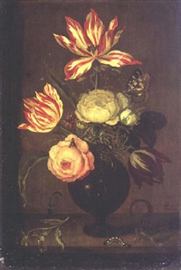 a still life of flowers in a vase resting on a ledge with a lizard and insects by johannes bosschaert