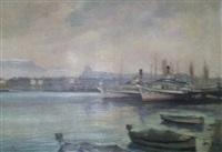 genève - la rade, bateaux et jet d'eau by sergio cecchi