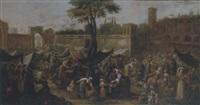 a market scene before the walls of a city by giovanni michele graneri