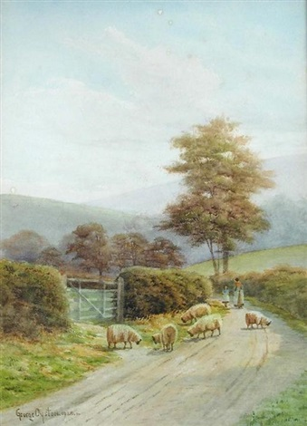 sheep and shepherdess on a country lane dorset by george oyston