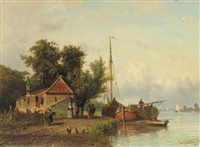 daily activities along a river by johannes joseph destree