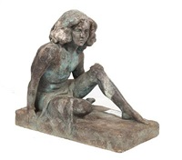 young girl seated cross-legged, one arm resting on her knee by kathleen scott