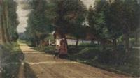 ældre kvinde og barn på vej, i baggrunden en gård by lars soren jensen rastrup