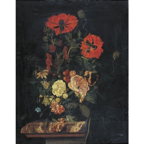 still life with poppies roses carnations and other flowers in a vase resting on a marble top table by nicolaes lachtropius