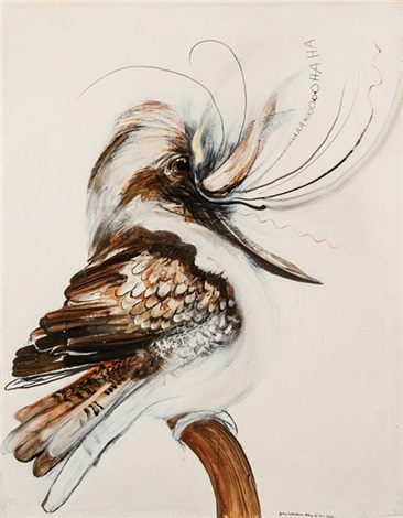 young kookaburra taking its first laugh by brett whiteley