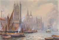 barges before the houses of parliament by robert malcolm lloyd