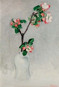 blossoming twig in a white vase by jan boon