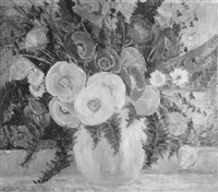 summer bouquet with poppies and fern by dorothea m. litzinger