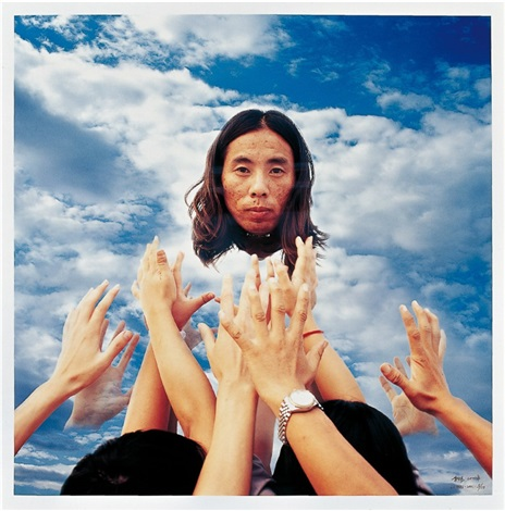 many hands hold the moon diptych by li wei