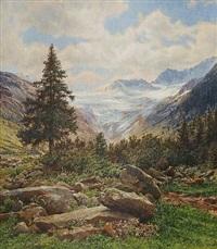 der schlegeisgrund - teilansicht der zillertaler alpen by ferdinand remp