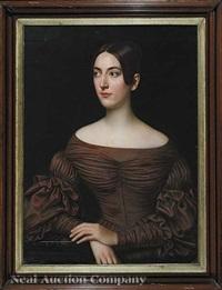 portrait of a beautiful woman in a brown dress, a member of the beauvais-decuir family by jacques guillaume lucien amans