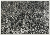 pferdegespann im regen by werner haselhuhn