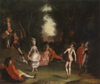 a fête galante with elegant figures in a woodland setting by josé camaron y boronat