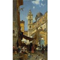 kirche in trastevere bei rom by franz theodor aerni