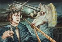 surrealistische komposition mit einem einhorn by walter andreas angerer