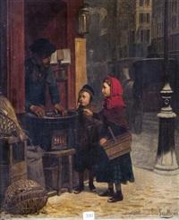 paris, le marchand de marrons grillés et deux enfants by louis simon cabaillot lassalle