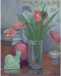 still life with tulips and sculpture by henri gaudier brzeska by stanislawa de karlowska